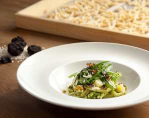 Casarecce Pasta, Rocket Leave, Pesto & Black Truffle